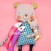 Cuddly Bear and Fish Dolls PDF Pattern (#2500)