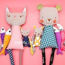 Cuddly Bear, Kitty Cat & Fish Dolls PDF Pattern Combo (#2501)