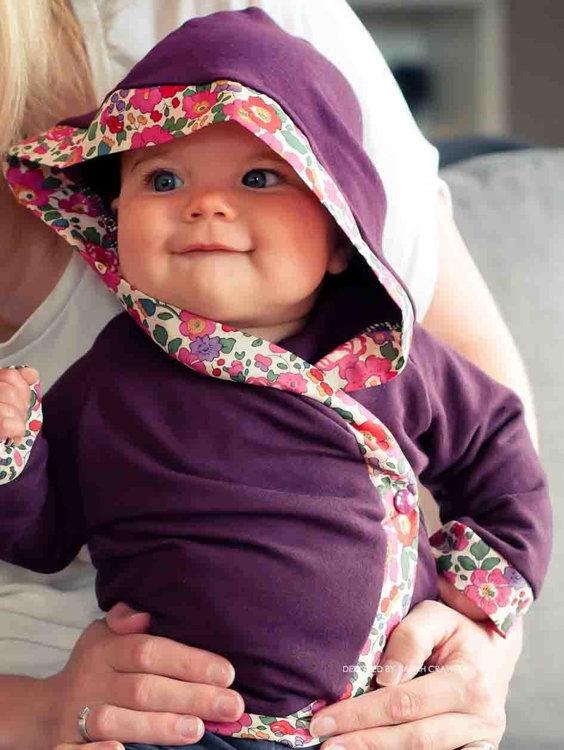 Picture of Hooded Baby Kimono Wrap Jacket PDF Pattern
