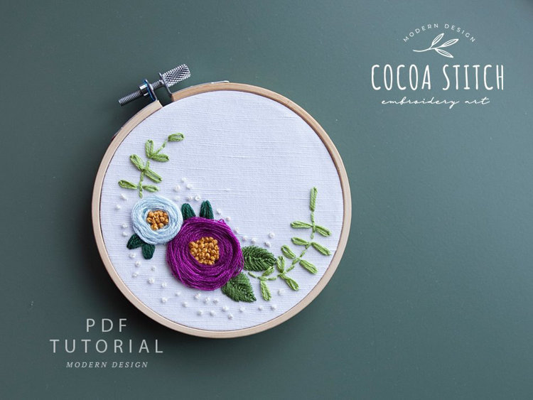 """Picture of 4"""" Purple Rose Embroidery PDF Pattern"""