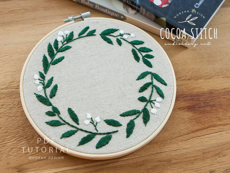 """Picture of GREEN  WREATH 6"""" Embroidery PDF Pattern"""