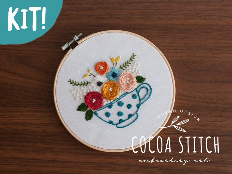 """Picture of Tea Cup 6"""" Embroidery Kit"""