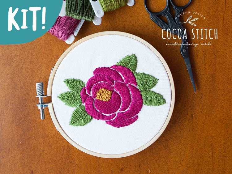 """Picture of 4"""" Pink Rose Embroidery Kit"""
