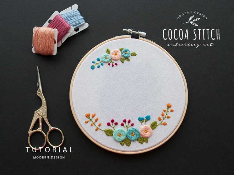 """Picture of 6""""(7"""") Flowers Embroidery PDF Pattern"""
