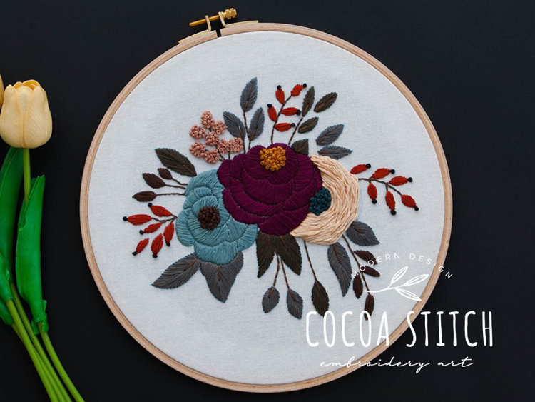 """Picture of 10"""" Flower Garden Embroidery PDF Pattern"""