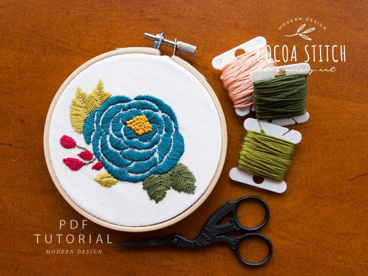 """Picture of 4"""" Rose Embroidery PDF Pattern"""