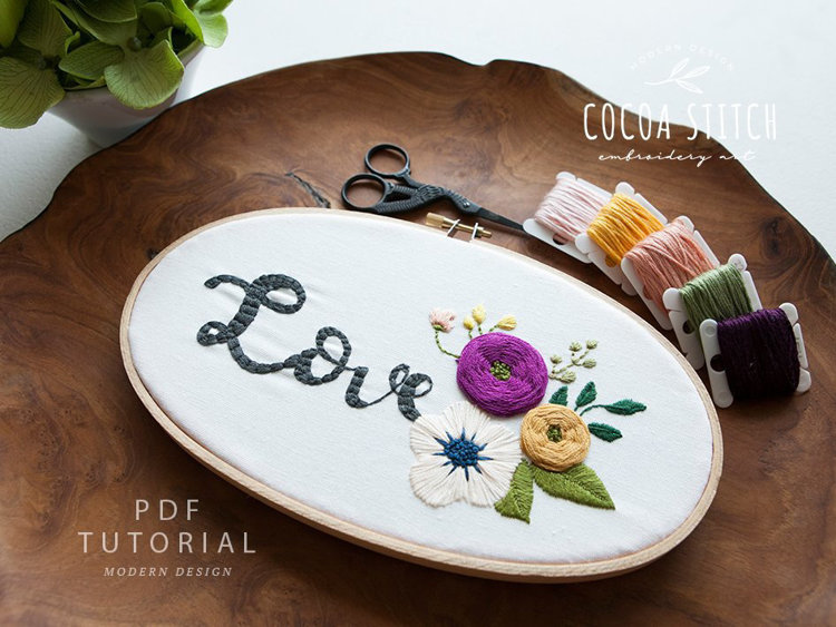 "Picture of 5""X 9"" Oval Shape Love Embroidery PDF Pattern"