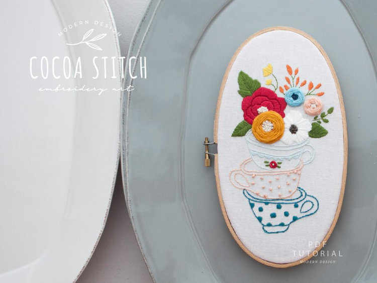 "Picture of 5""X 9"" Tea Cup Oval Shape Embroidery PDF Pattern"