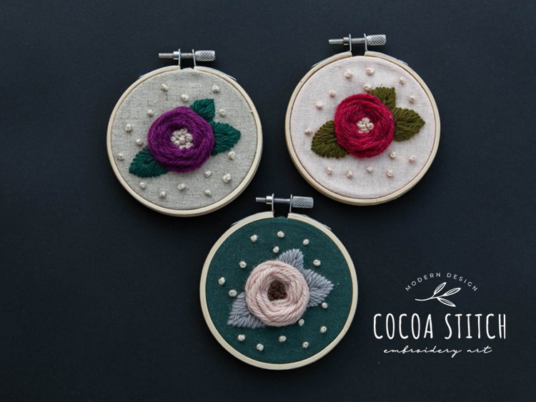 """Picture of 3 1/2"""", 4""""  Mini Flower Embroidery PDF Pattern"""
