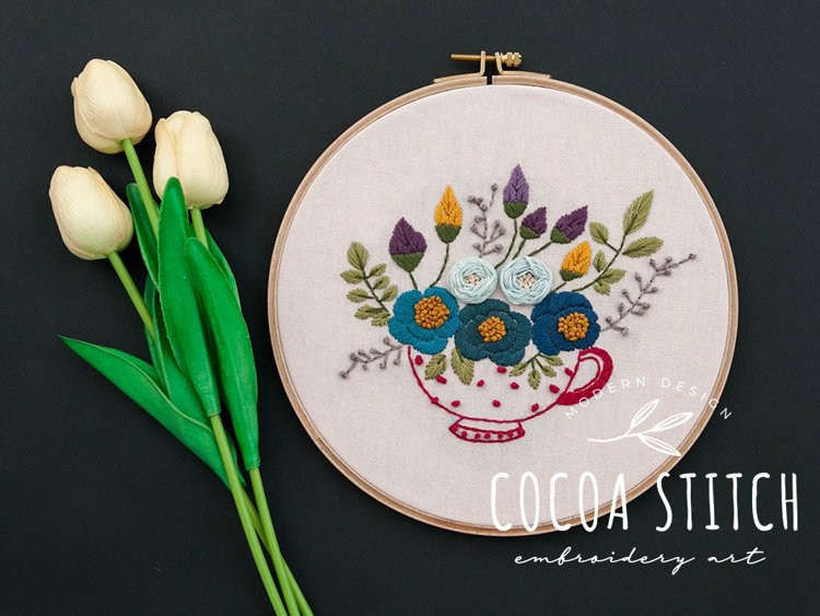 "Picture of 9"" Red Tea Cup PDF Pattern"