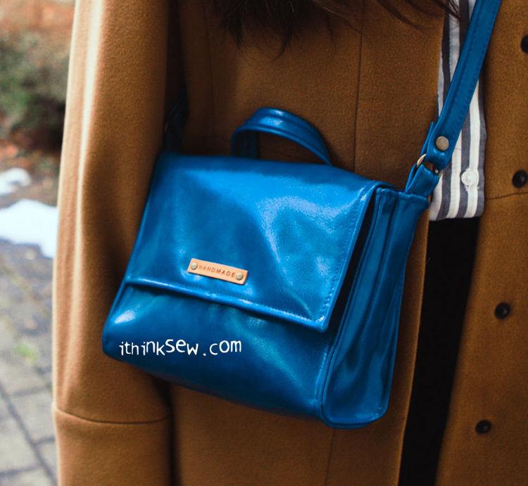 Picture of Zippered divider pocket installed Lauren Bag PDF Pattern