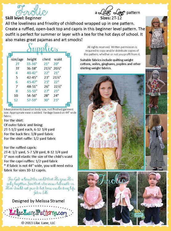 Picture of Open Back Top and Capri Pants PDF Pattern