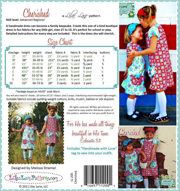 Picture of Classic Button Up Girls Dress PDF Pattern
