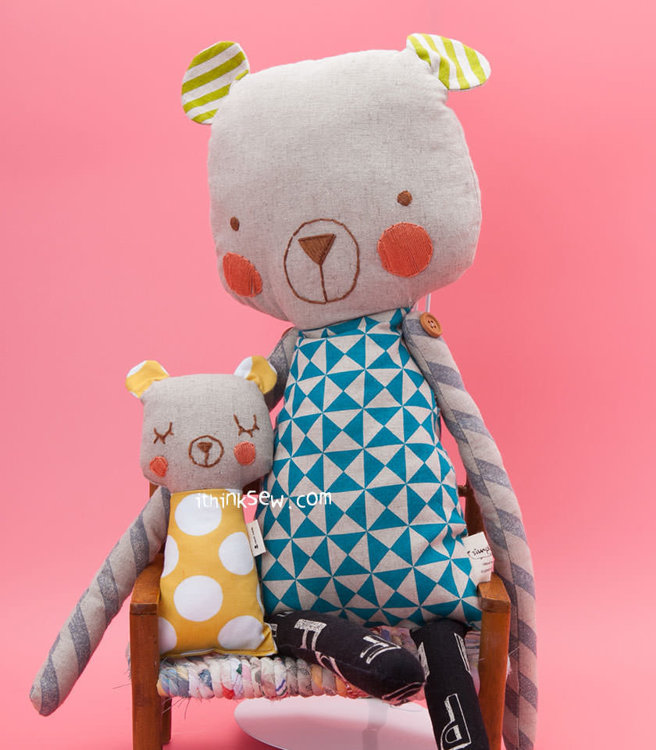 Picture of Cuddly Bear, Kitty Cat & Fish Dolls PDF Pattern Combo