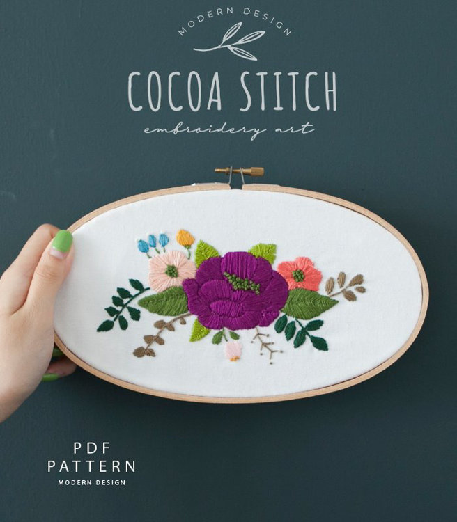 """Picture of 5""""X 9""""(13cmX23cm) Oval Three Flowers Embroidery PDF Pattern"""