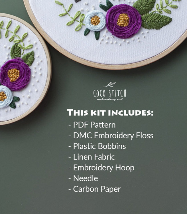 """Picture of 4"""" Blue Rose Embroidery Kit"""