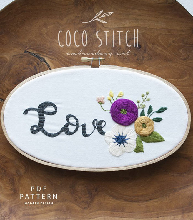 """Picture of 5""""X 9"""" Oval Shape Love Embroidery PDF Pattern"""