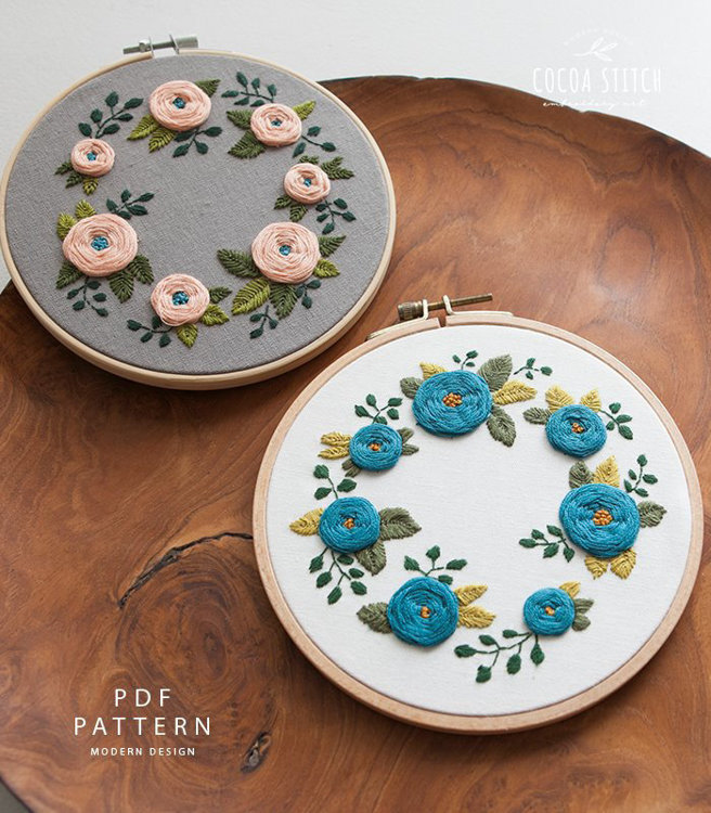 """Picture of 6""""(7"""") Seven Flowers Embroidery PDF Pattern"""