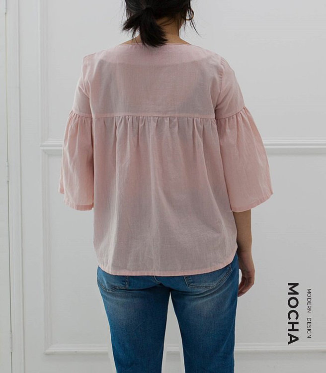 """Picture of MOCHA Maureen Blouse PDF Pattern- 4 Kinds of Paper(A4, US Letter, A0, 36""""x48"""")"""