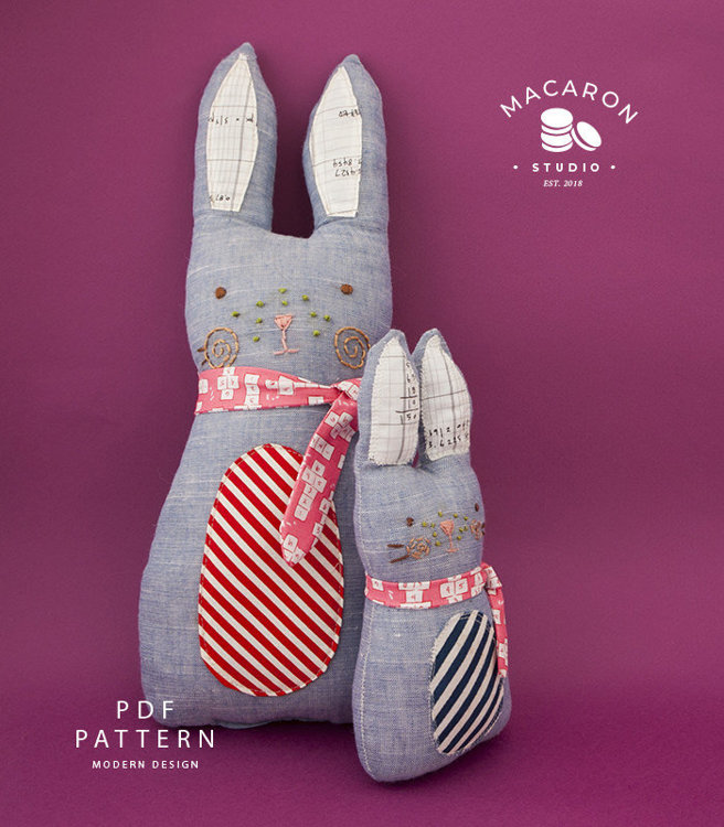 Picture of Cuddly Blue Rabbit and Bunny Dolls PDF Pattern