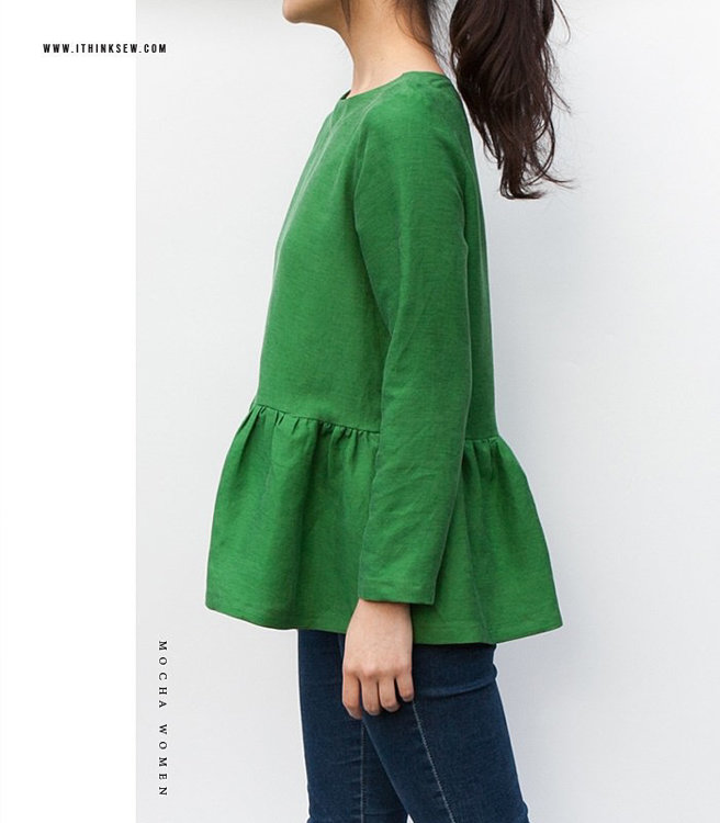 """Picture of MOCHA Rosemary Blouse PDF Pattern - 4 Kinds of Paper(A4, US Letter, A0, 36""""x48"""")"""