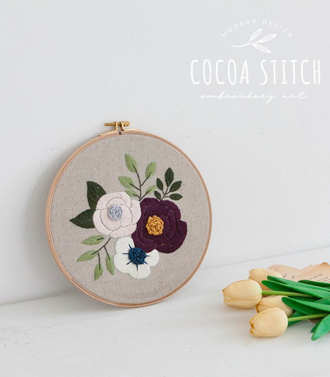 """Picture of 9"""" Three Flowers Embroidery PDF Pattern"""