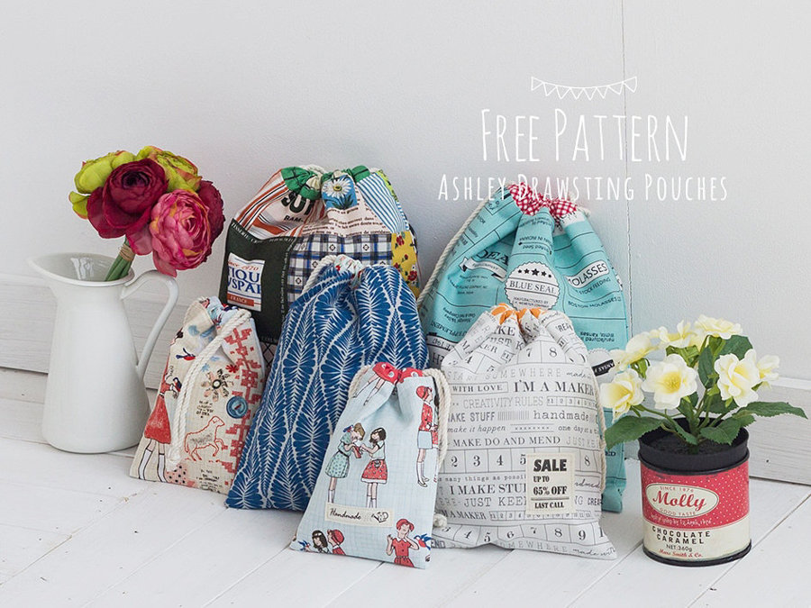 Ashley Drawstring Pouches FREE PDF Pattern