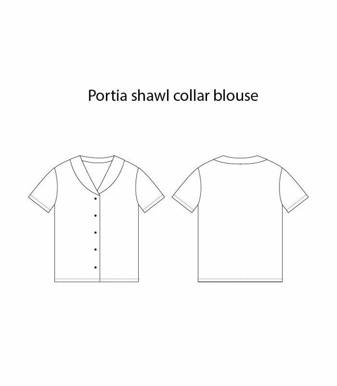"""Picture of MOCHA Portia Shawl Collar Blouse PDF Pattern - 4 Kinds of Paper(A4, US Letter, A0, 36""""x48"""")"""