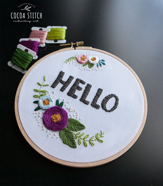 """Picture of Hello 6"""" Embroidery PDF Pattern"""