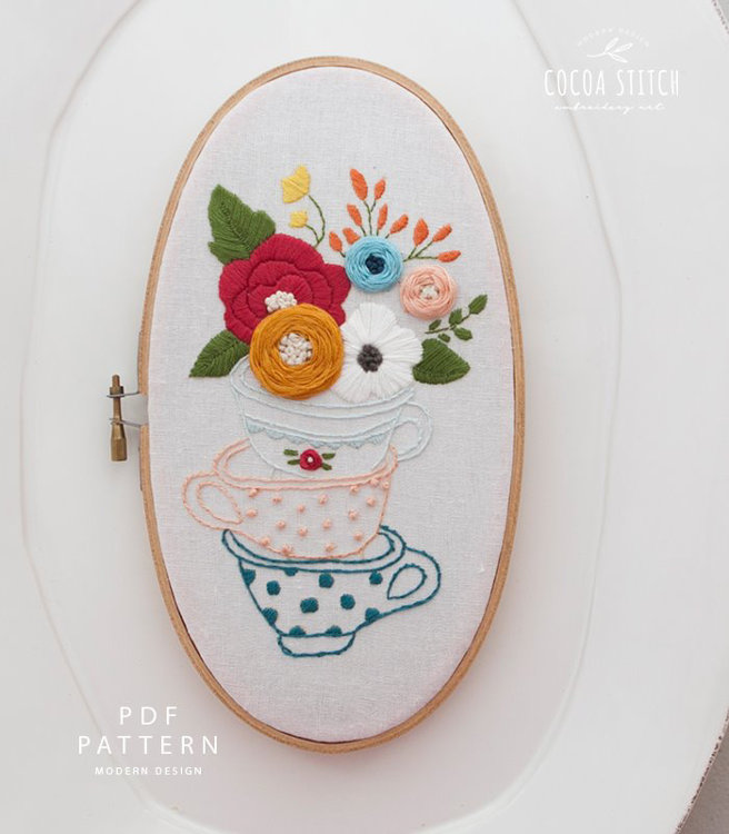 """Picture of 5""""X 9"""" Tea Cup Oval Shape Embroidery Kit"""