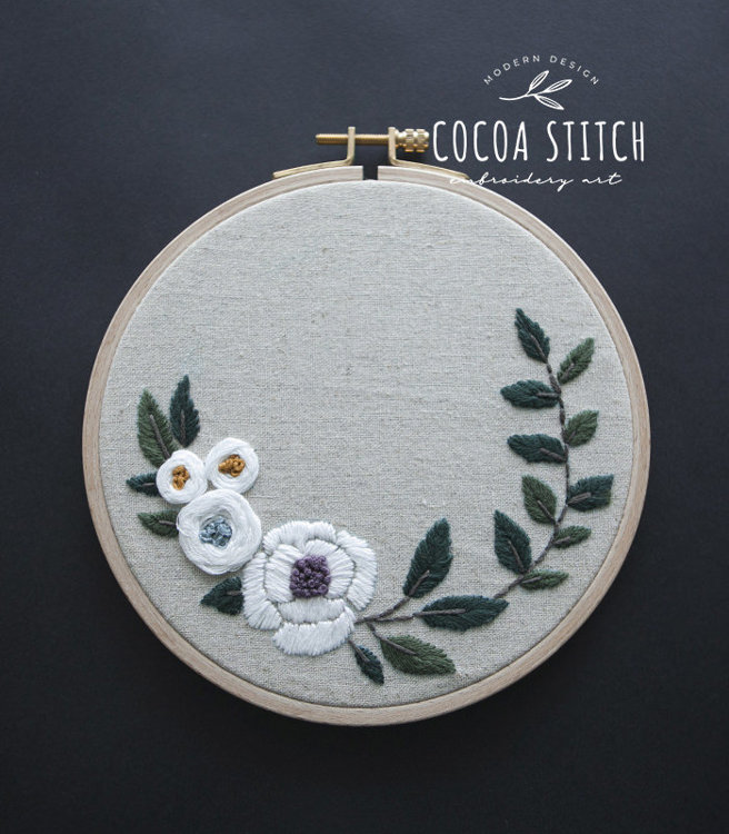 "Picture of 6"", 7"" White Flowers Embroidery PDF Pattern"