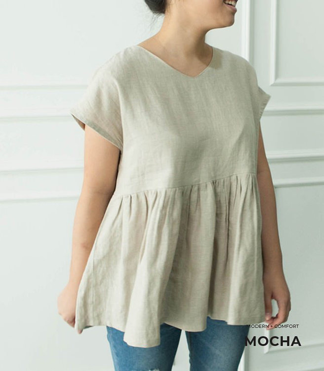 Picture of 10 MOCHA Two-Styles Avah Blouse PDF Pattern (#3186_3173) - 25% Off!