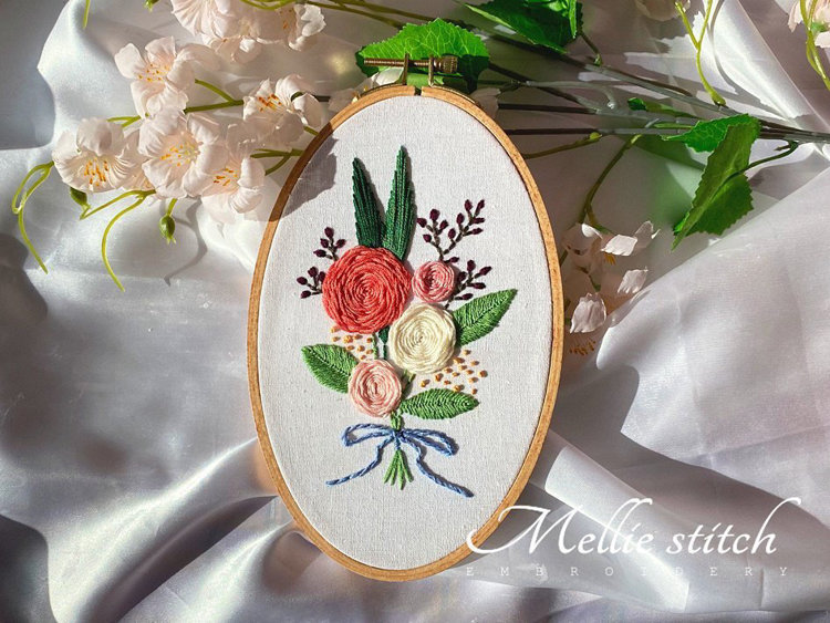 """Picture of 5"""" X  8"""" Romantic Roses Embroidery PDF Pattern"""
