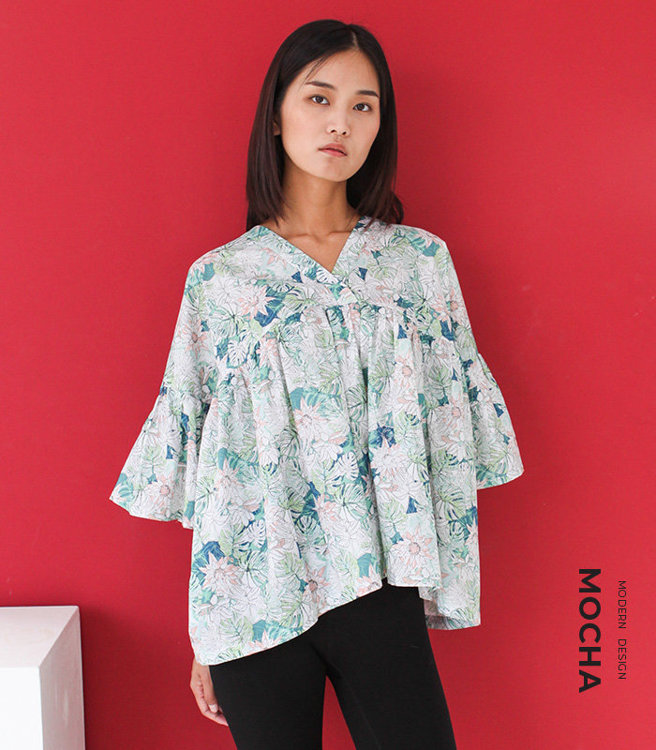 """Picture of MOCHA Shaneen Blouse PDF Pattern - 4 Kinds of Paper(A4, US Letter, A0, 36""""x48"""")"""