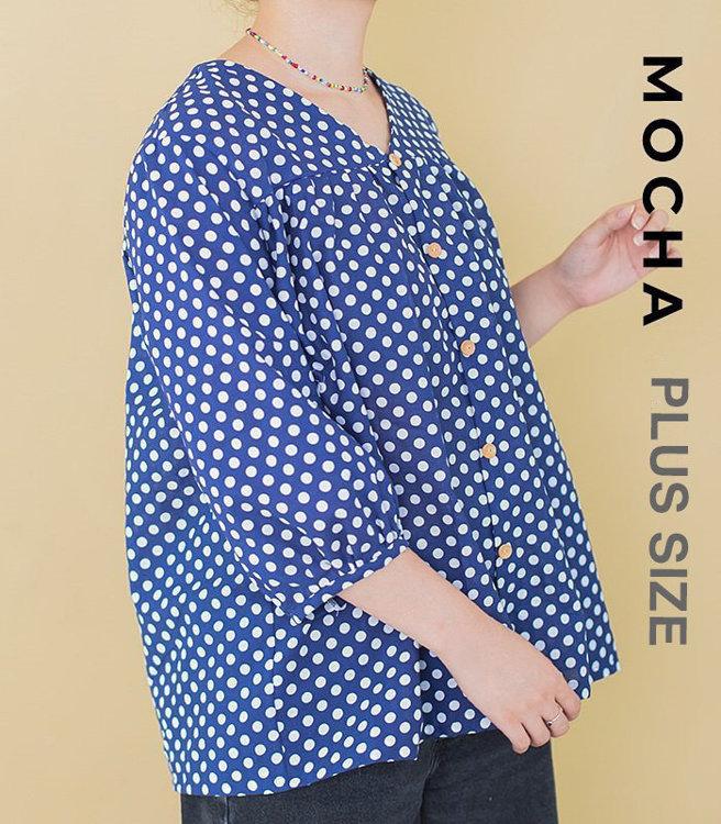 "Picture of MOCHA Farrell Blouse Plus Size PDF Pattern  - 4 Kinds of Paper(A4, US Letter, A0, 36""x48"") - PLUS SIZE"