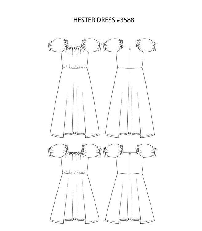 """Picture of MOCHA Hester Dress PDF Pattern (#3588) - 4 Kinds of Paper(A4, US Letter, A0, 36""""x48"""")"""