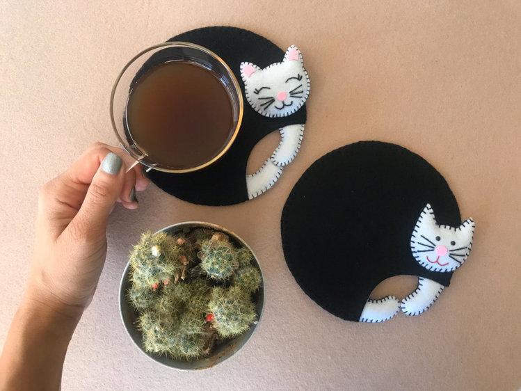 Picture of Pdf pattern, cat sewing tutorial, plushies, DIY cat coaster, cat pattern, felt, coaster pattern